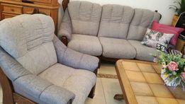 Kanapa + 2 fotele dębowe - wypoczynek