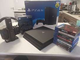 Selling my PS4 Pro with 10 games and a  headset in good condition.