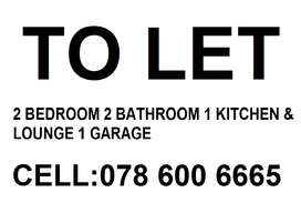 TO LET: 2 BEDROOM 2 BATHROOM 1 LOUNGE & KITCHEN 1 GARAGE| ESHOWE