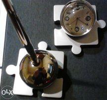"""Набор подарочный стильный """"Пазлы"""" с часами и ручкой"""