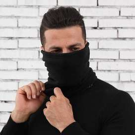 Comfortable new black / grey half face mask polar fleece winter snood