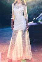 Вечернее (свадебное) кружевное длинное платье с открытой спиной сбоку