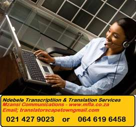 Ndebele Transcription and Translation Services Cape Town.