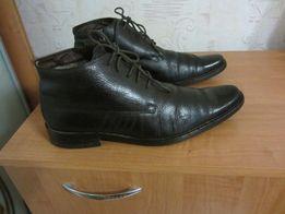 Мужские зимние ботинки -кожа +цигейка размер 40 (стелька 26см )