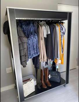 Wooden Clothing Rack On Wheels
