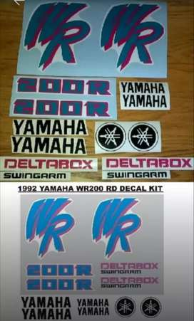 Decal kit for a 92 WR 200 RD