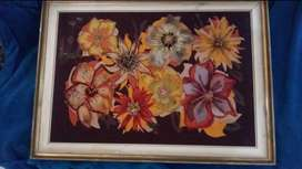 Portrait framed with painted flowers