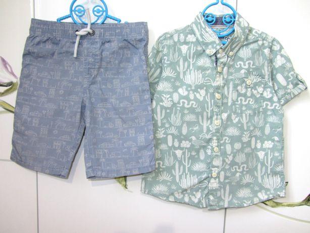 Летний нарядный костюм для мальчика 4-5 лет : рубашка котоновые шорты