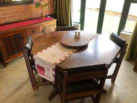Solid Teak 8-seater Dining Table with Buffet