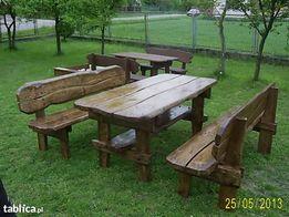 Meble ogrodowe. Solidny zastaw. Długość 200 cm. Stół i 2 ławki.