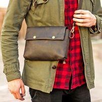 Мужская сумка Cross-Body + Подарок. Ручная работа, натуральная кожа