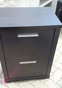 Image of 2 Drawer dark wood cupboard with two deep drawers in good condition