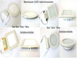 LED панель. Светильник врезной светодиодный 3/6/12/18 w круг,квадрат