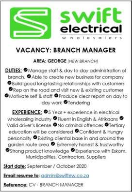 SALES AGENT & BRANCH MANAGER VACANCY