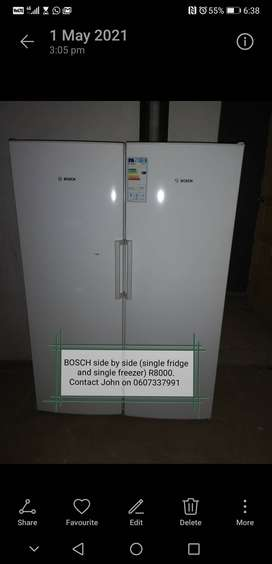 Bosch side by side fridge and freezer for sale
