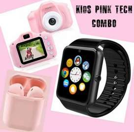 SMART WATCH , Bluetooth Earpods and Kids camera Combo