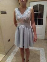 Sukienka różowa, szara, wesele, studniówka, 34