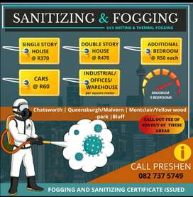 Sanitizing and fogging.. Disinfect.