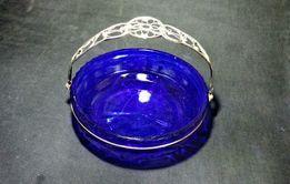 Ваза конфетница синее кобальтовое стекло скань ручка