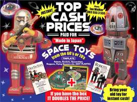 "TOP CASH PRICES PAID FOR ""Made in Japan"" Tinplate Space Toys 60's/70's"