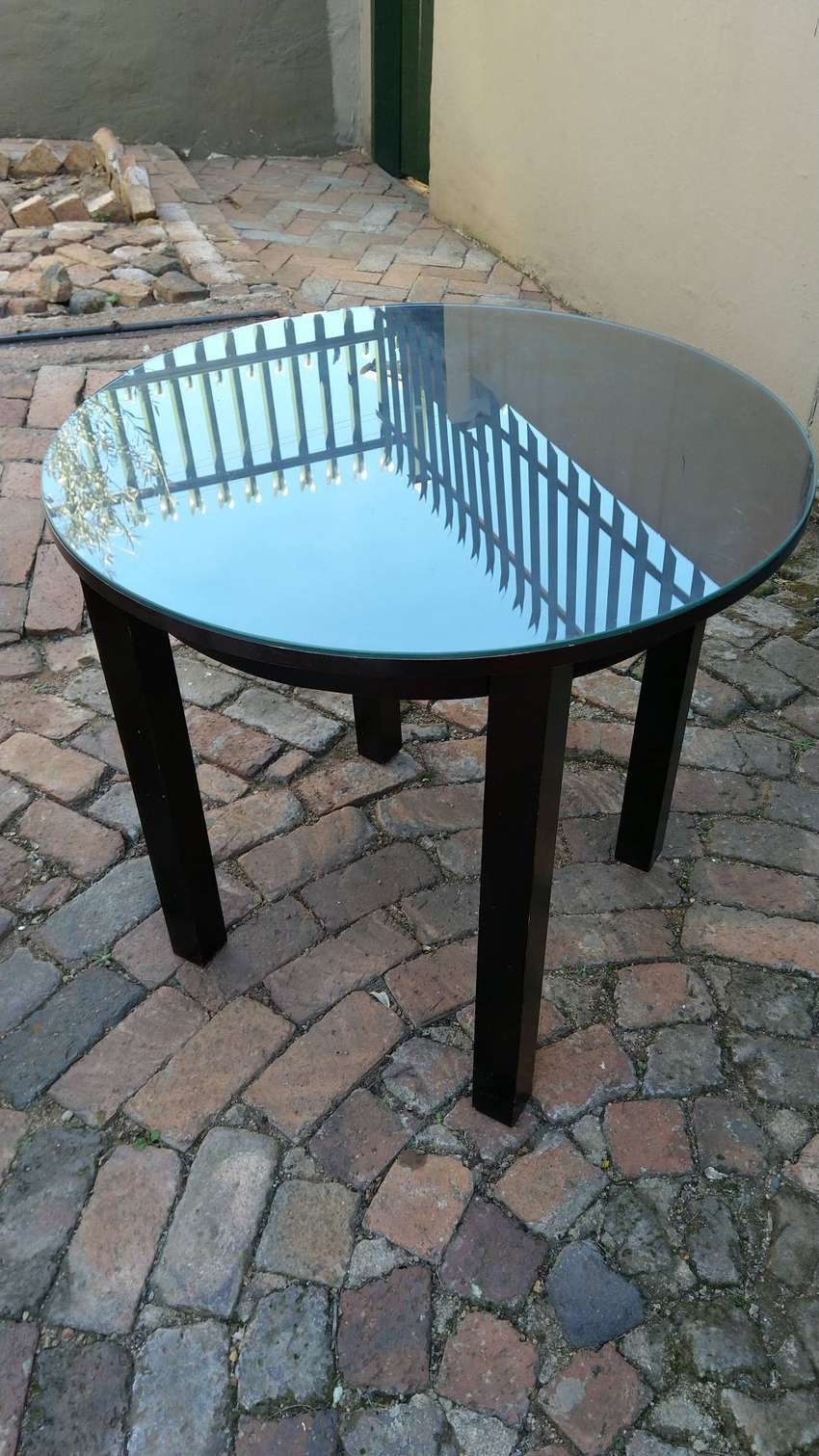 Attractive Round Dark Wood table with glass top 0