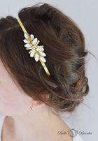 Opaska ślubna LOARA listki ozdoba do włosów stroik ślubny kryształki