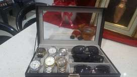 Gift Ideas: 6 Watch Display Case & 3pc Eye Glasses Storage Case (Black
