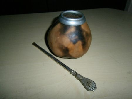 набор для питья чая Мате калебас и бомбилья (лично мой б/у)