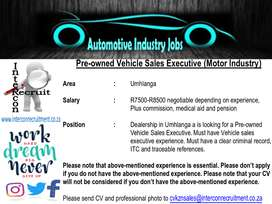 Pre-owned Vehicle Sales Executive (Motor Industry) – Umhlanga