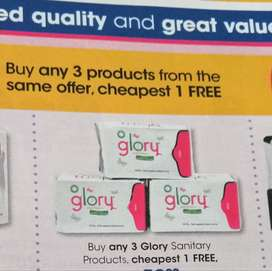 Glory sanitary pads IMBOSSED with BAMBOO CHARCOAL at Clicks store's