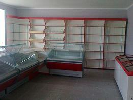 Торговое оборудование для магазинов из металла и ДСП витрины стелажи.