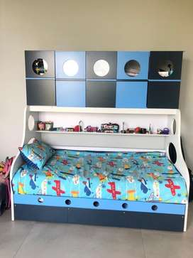 Child bed set and mattress with cupboards on top. Excellent conditon!