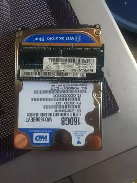 Laptop 4G rams ddr3  and 160g hardrive