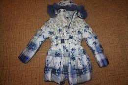 пальто зимнее с жилеткой 2 в 1 девочке 8-9 лет