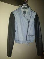 kurtka jeansowa z elementami skóry ekologicznej Sinsay