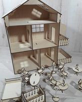 Эко игрушка,деревянный домик для кукол с мебелью.Подарок детям на НГ