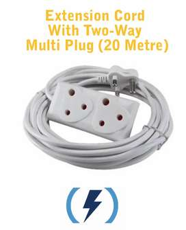 Extension Cord with two-way Multi Plug 20 Metre (Brand New)