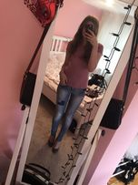Spodnie rurki jeansowe zara 34 damskie modne legginsy