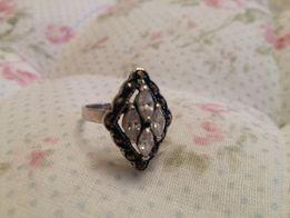 Kolczyki srebrne z kryształkem + pierścionek srebr