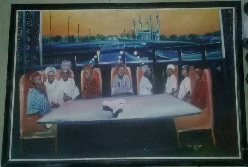 1998 Political Painting on Canvas for sale. (Title: National Cake) 0