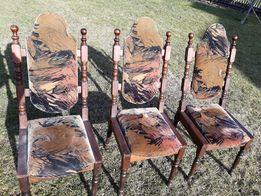 Drewniane, tapicerowane krzesła. 6 sztuk.