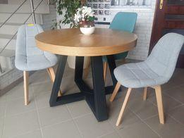 Stół okrągły dębowy LOFT loftowy, drewno lite industrialny noga metal