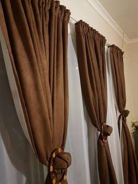 Brown Suede Curtains (Set of 3)