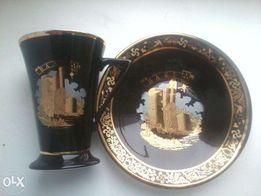 Чайная пара чашка блюдце Чехия Haas&Czjzek porcelain кобальт позолота