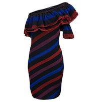 Diesel sukienka XS w paski na jedno ramię błyszcząca