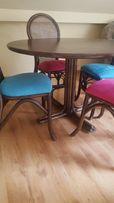 Stół ratanowy okrągły z 4 krzesłami