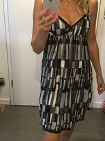 Sukienka na wesele imprezę letnia włoska czarna-biała M jak zara mango