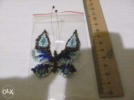 Метелик з бісеру сірий з голубим