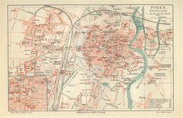 POZNAŃ reprodukcje XVI-XIX w. planu miasta do aranżacji wnętrza