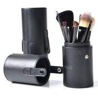 Кисти для макияжа 12 шт в тубусе МАС Натуральный Ворс 6 цветов тубуса